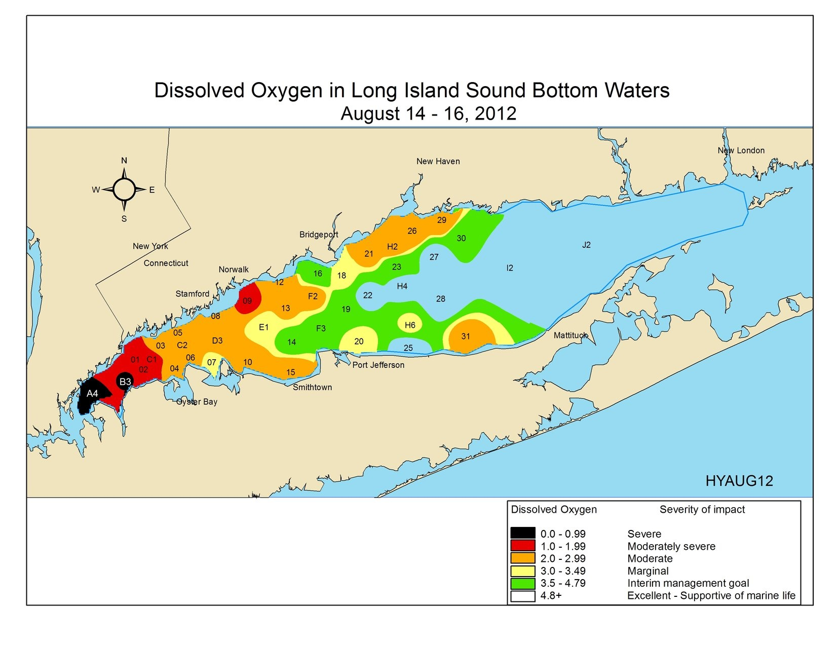 Severe hypoxic conditions in Long Island Sound during August