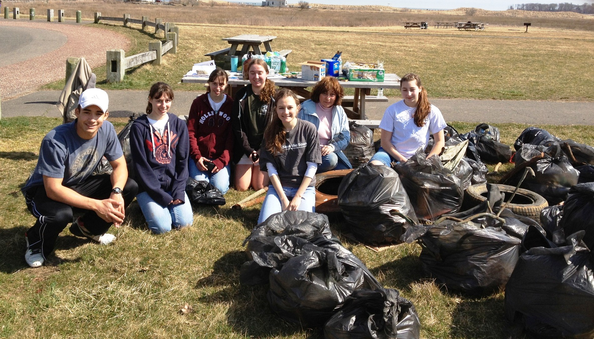 Volunteers from a cleanup at Silver Sands State Park in Milford in March