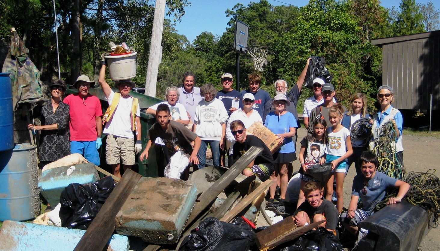 Volunteers with their haul from the Farm River in 2012
