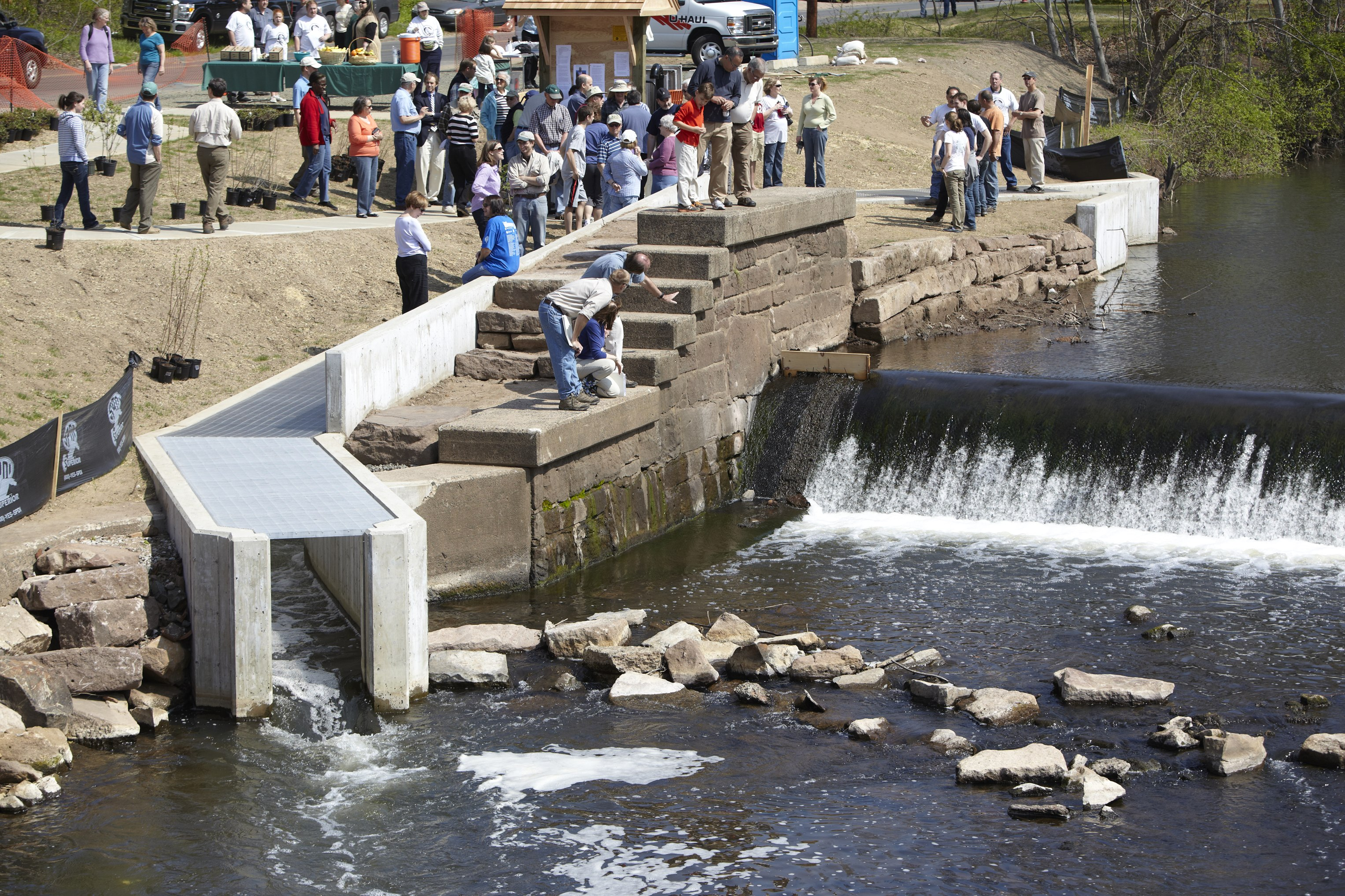 Opening the Harry Haakonsen Fishway on the Quinnipiac River, 2012 (Credit: Bob Lorenz)