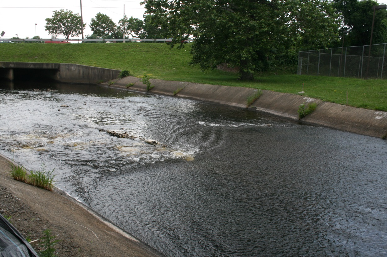 The concrete apron prior to construction. The flow in this section would be reduced at times to only a few millimeters, making it very difficult for fish to get upstream.