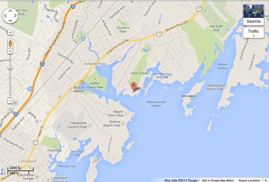 The Mamaroneck Beach and Yacht Club is located on the east side of Mamaroneck Harbor