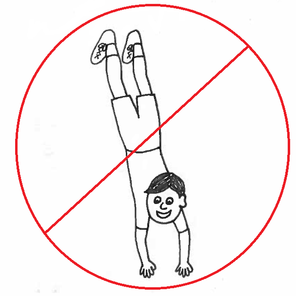 Boy Walking on Hands - with red slash