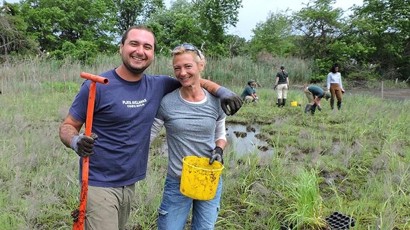 Volunteers at Sunken Meadow State Park restoration planting