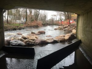 Noroton River fishway from inside culvert