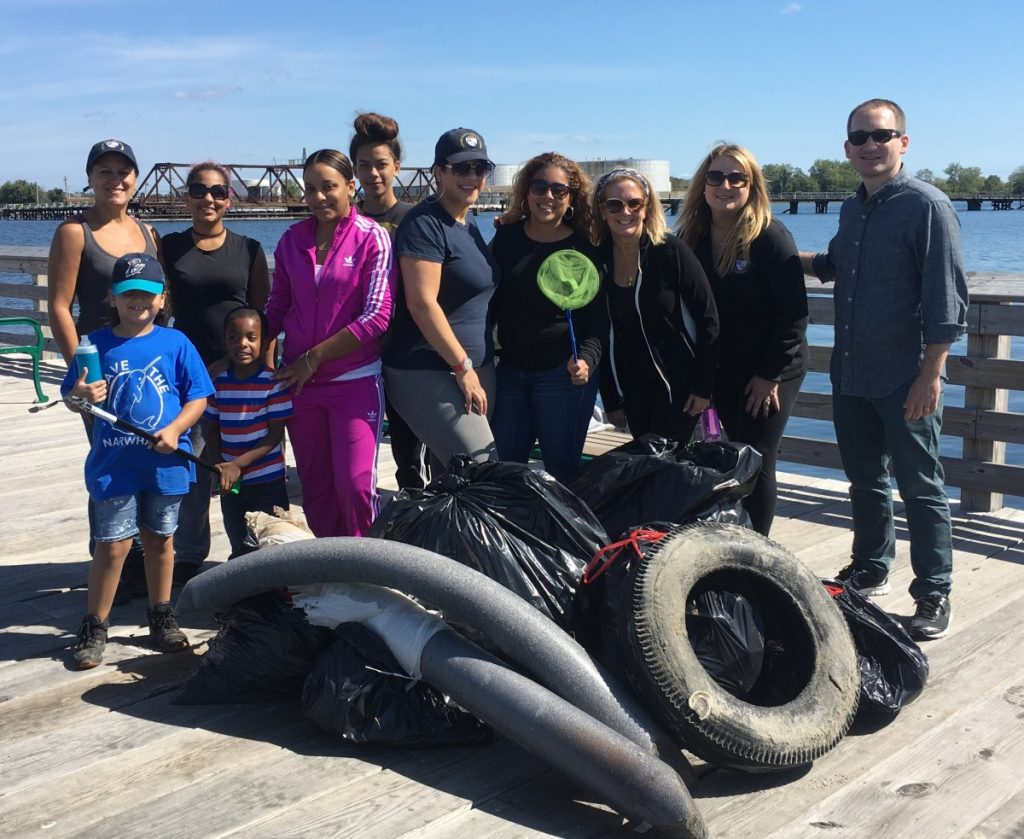 Foam and tires--and the volunteers who got them off the beach--at Seaside Park, Bridgeport