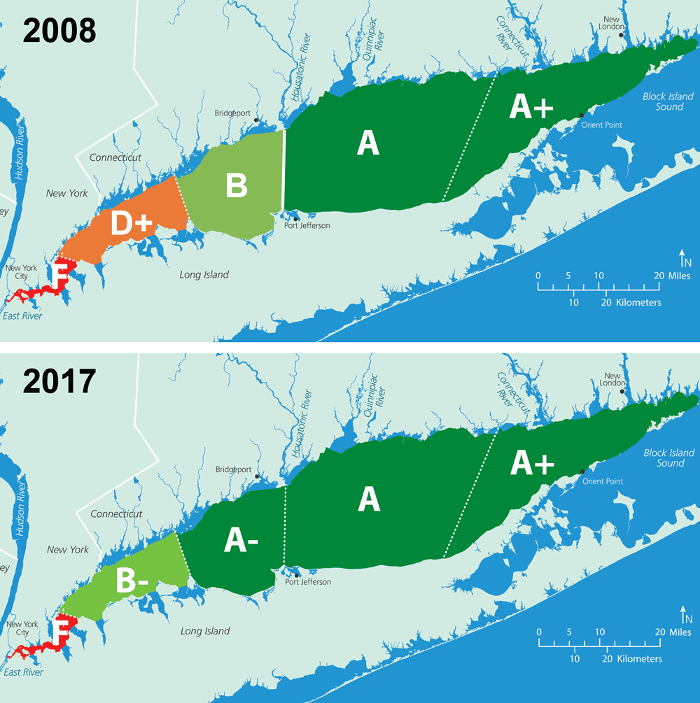 A map of LI Sound water quality grades from 2008 and from 2017, showing improvement