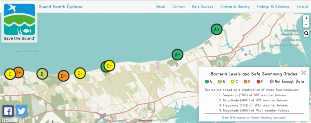 Screenshot of northeast LI coast showing colored circles for trends in water quality at beaches