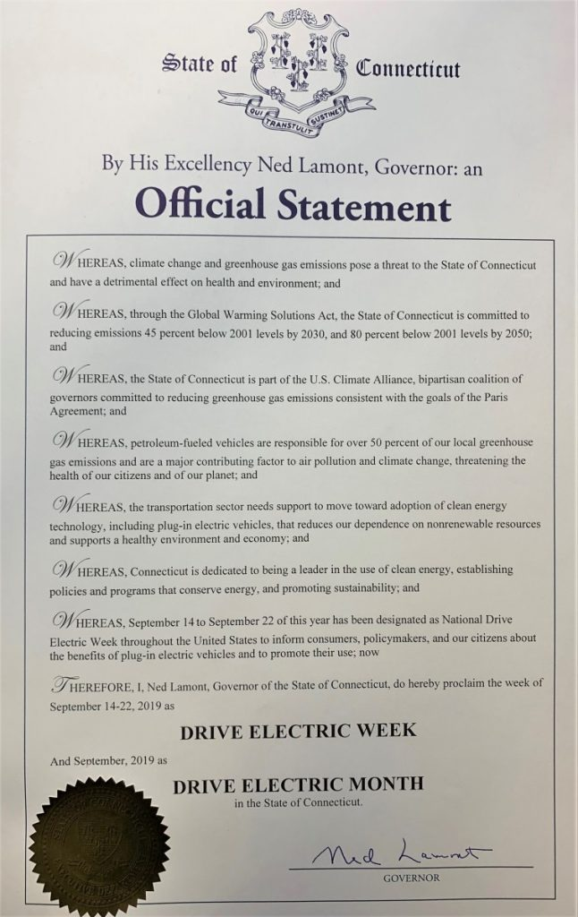 Official proclamation from Gov. Lamont declaring Sept. EV Month