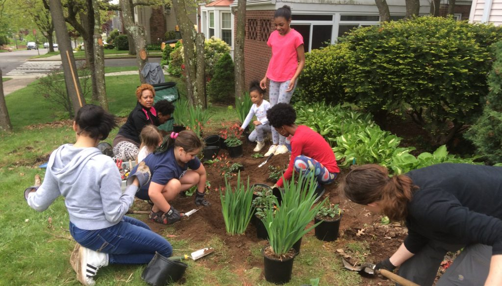 Half a dozen multi-racial young people dig in front of a hours with potted plants