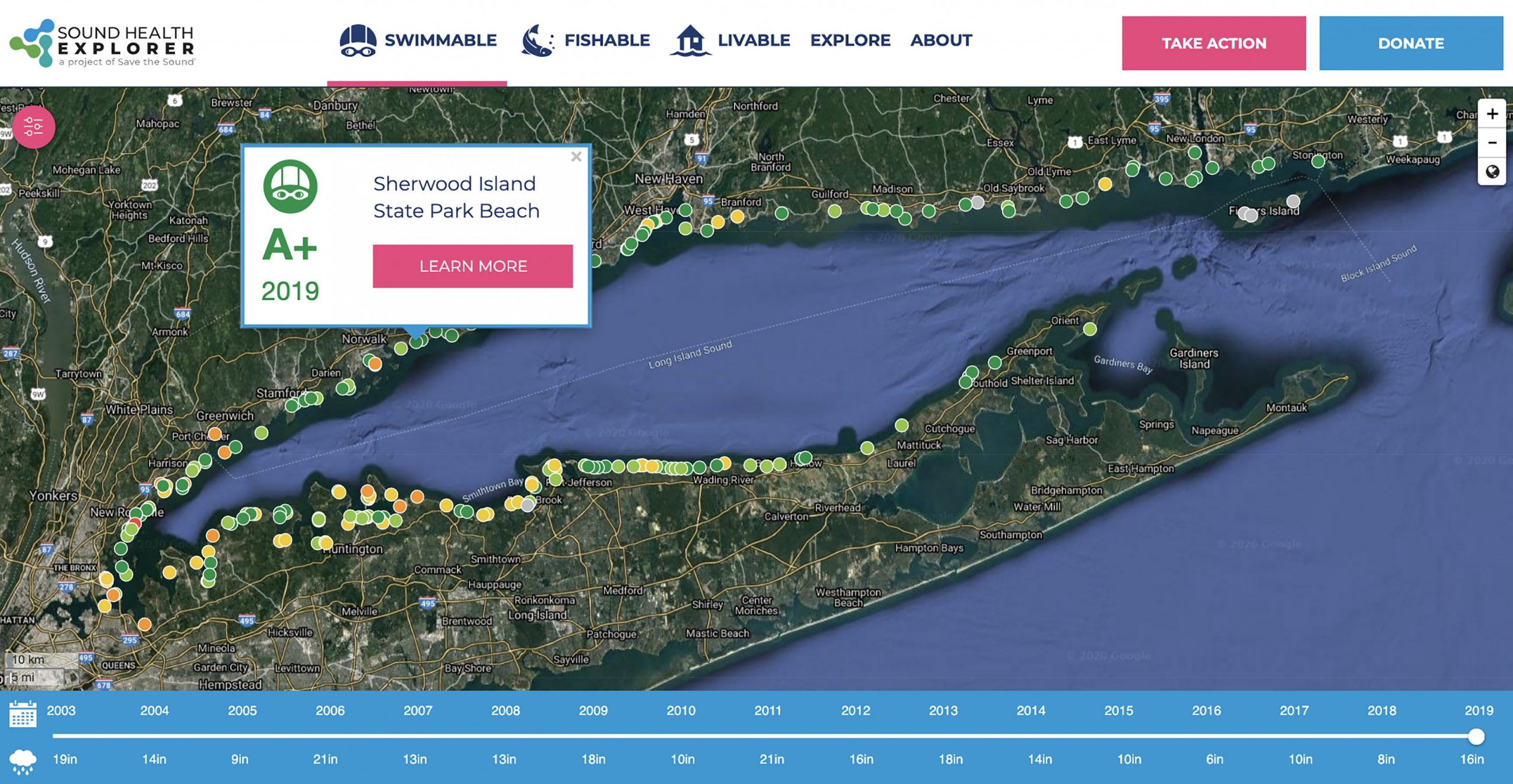 Screenshot of Long Island Sound showing colored circles for trends in water quality at beaches