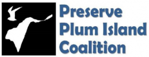 Logo showing silhouette of Plum Island and a tern