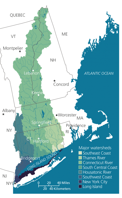 Map showing the full watershed of LI Sound, with the CT River watershed extending to Canada