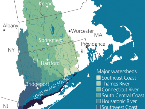 Map showing the southern portion of the LI Sound watershed