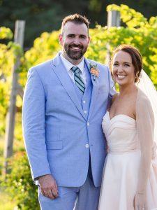 Matthew O'Brien and wife wedding photo in a vineyard
